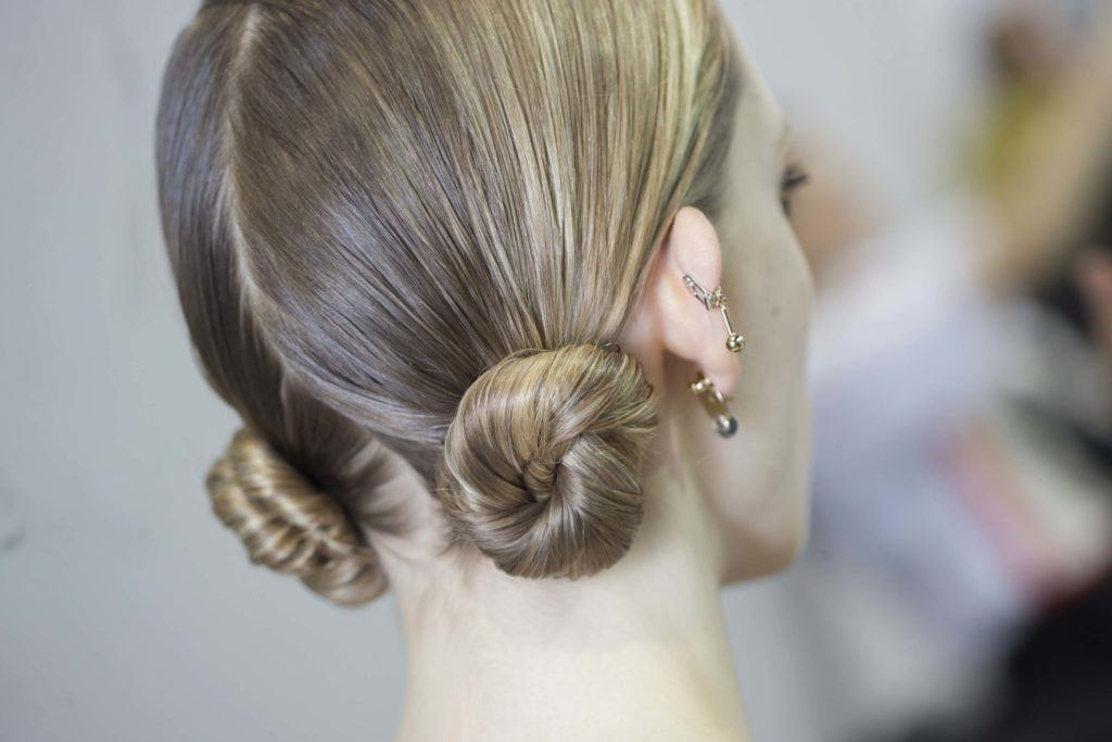 double bun hairstyle for long straight hair
