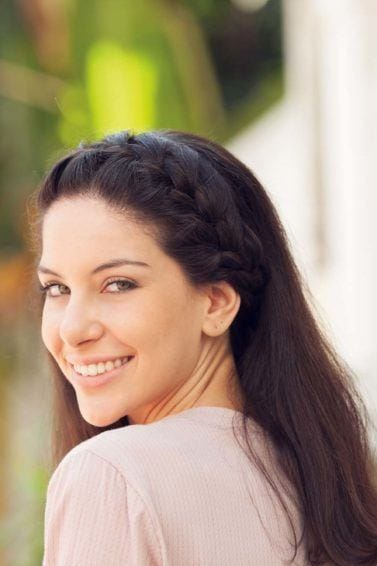 hairstyles for long straight hair, girl with headband braid