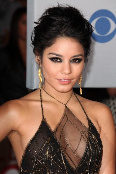 Vanessa Hudgens with messy updo hairstyle for thin hair