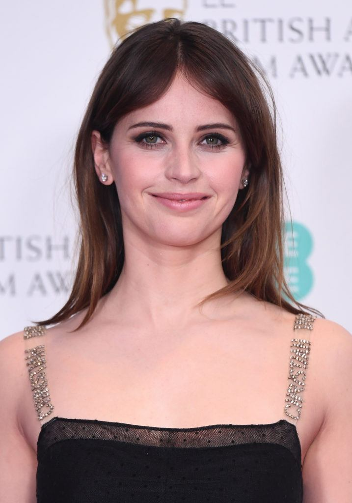 Felicity Jones hairstyle with bangs