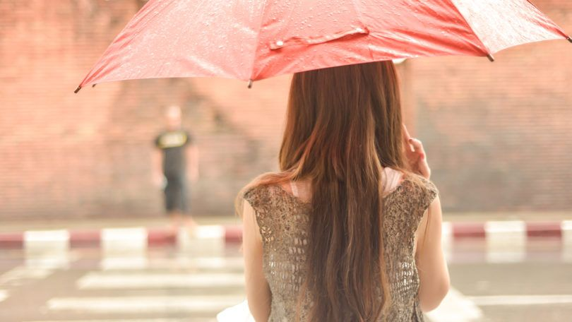 woman with straight hair during rainy season