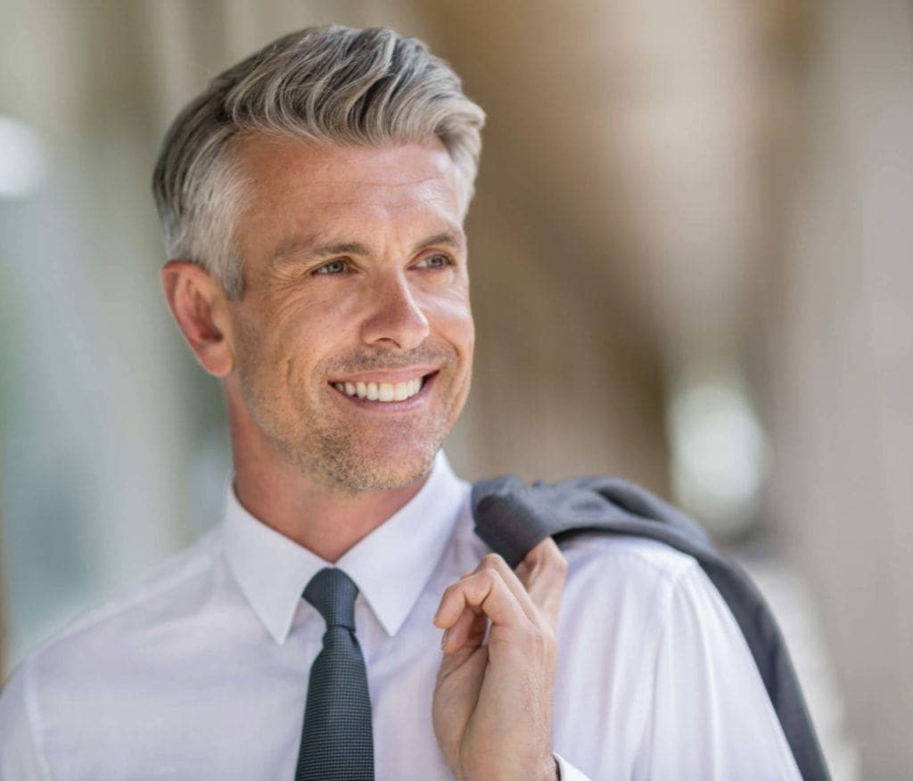 Man with grey quiff - men's grey hairstyle