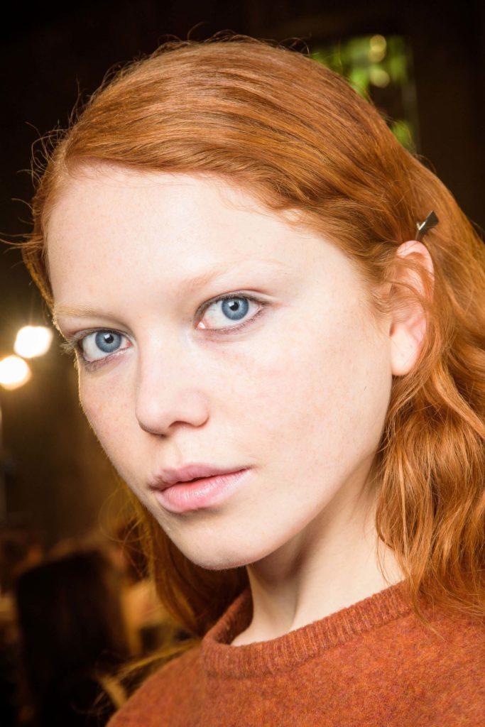 model with light ginger red hair