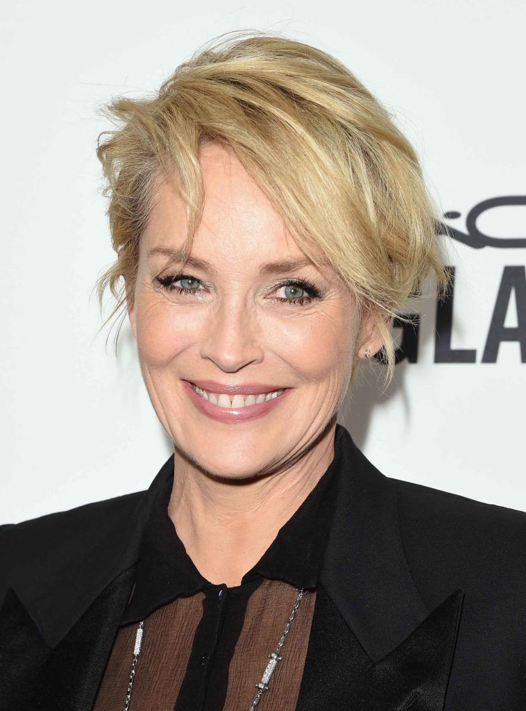 Sharon Stone with a pixie cut hairstyle