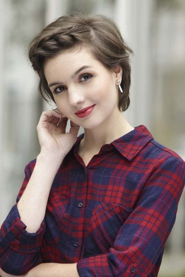 woman with super short hair with braid