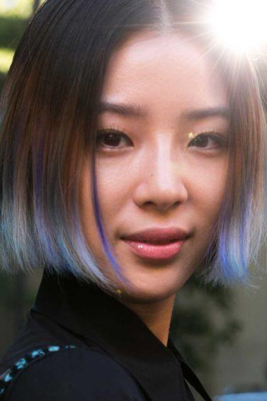 asian girl with bob and blue colored hair for ombre wth short hair