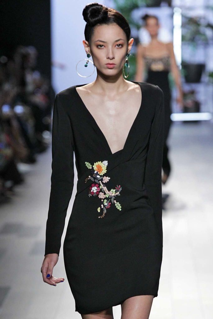 model walking on catwalk during New York Fashion Week: Cushnie et Ochs