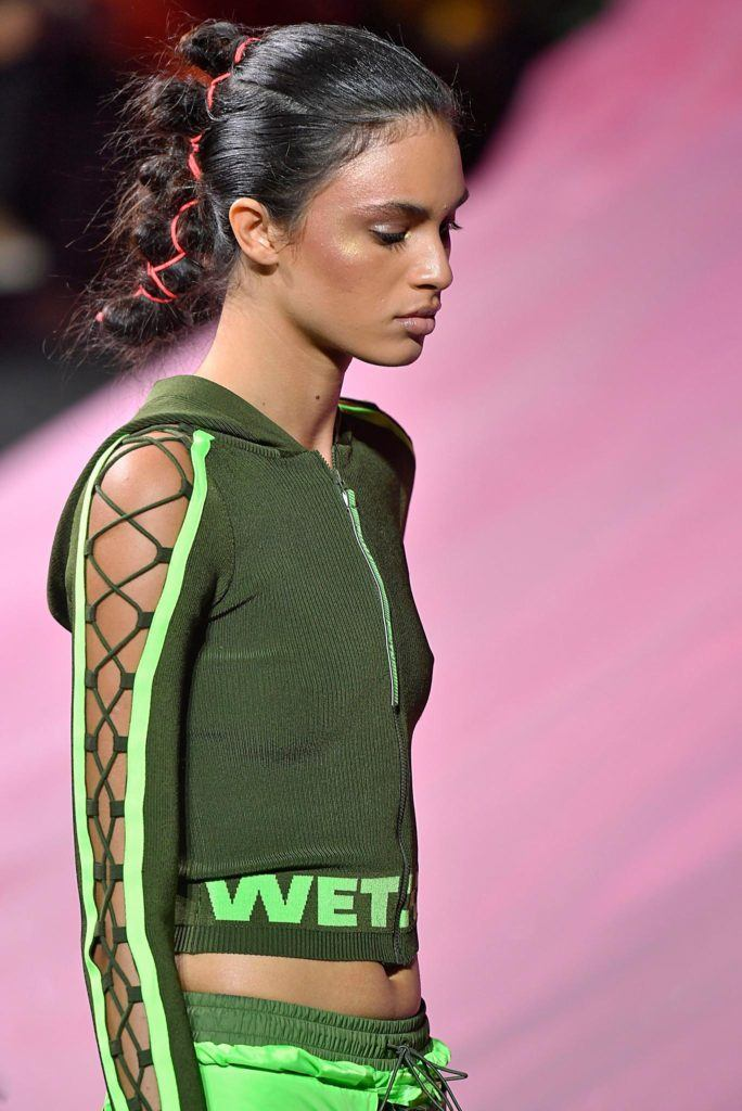 model walking on catwalk during New York Fashion Week: Puma by Rihanna