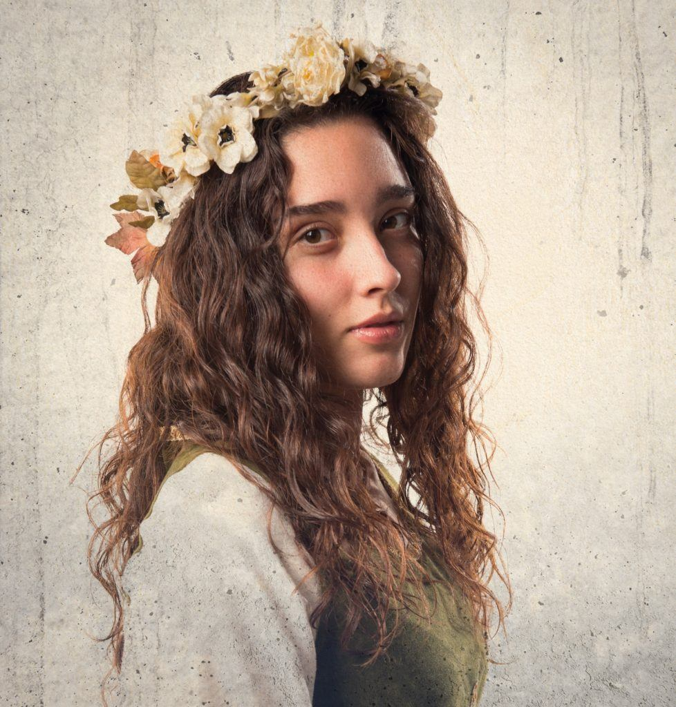 flower wreath adorns medieval hairstyles