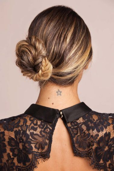 The side fishtail braided bun hairstyle