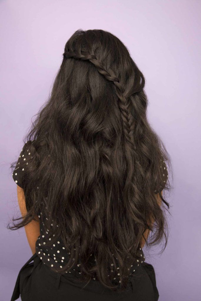 Half braided hairstyles - lopsided waterfall braid