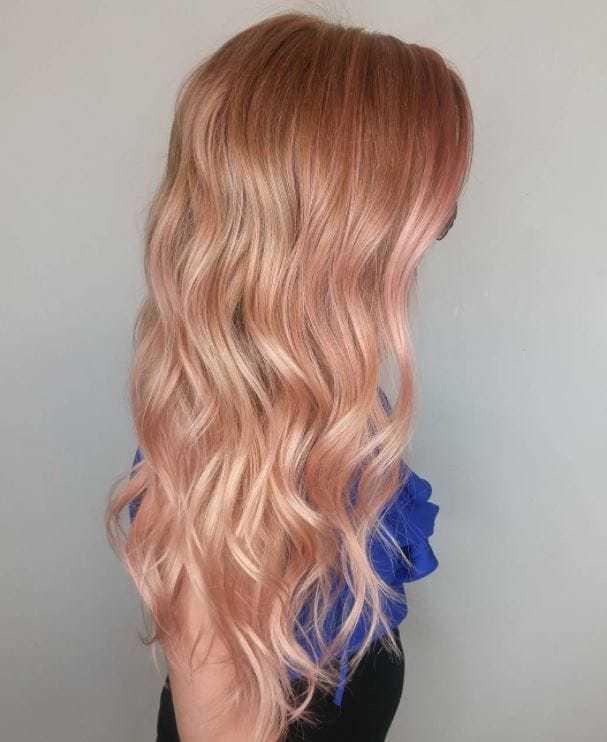 rose gold hair color for brunettes