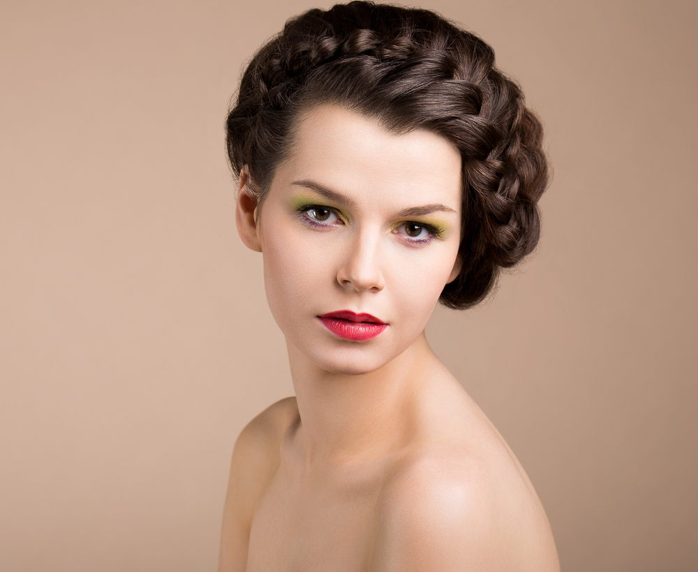 model with braided hair updo