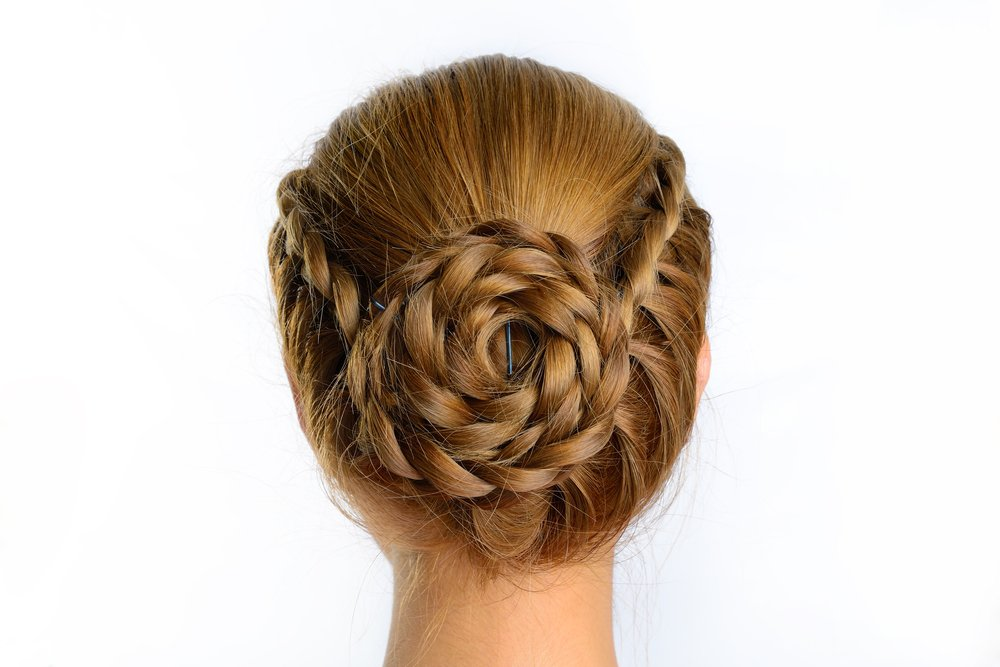 A creative hairstyle for prom updos featuring a flower braid