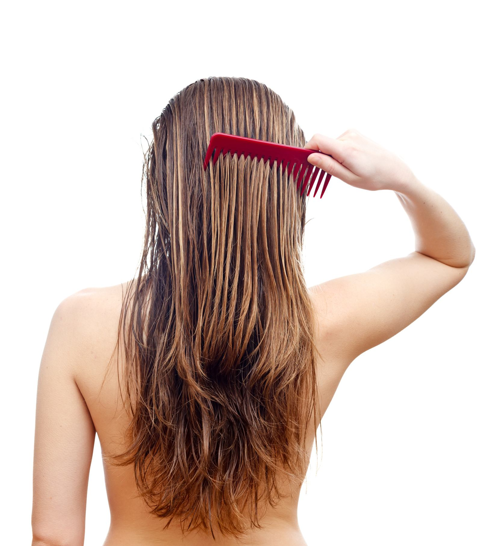 Back shot of a woman combing her long brown hair