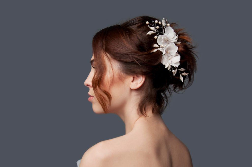 wedding hairstyles for short hair - Faux Updo shutterstock