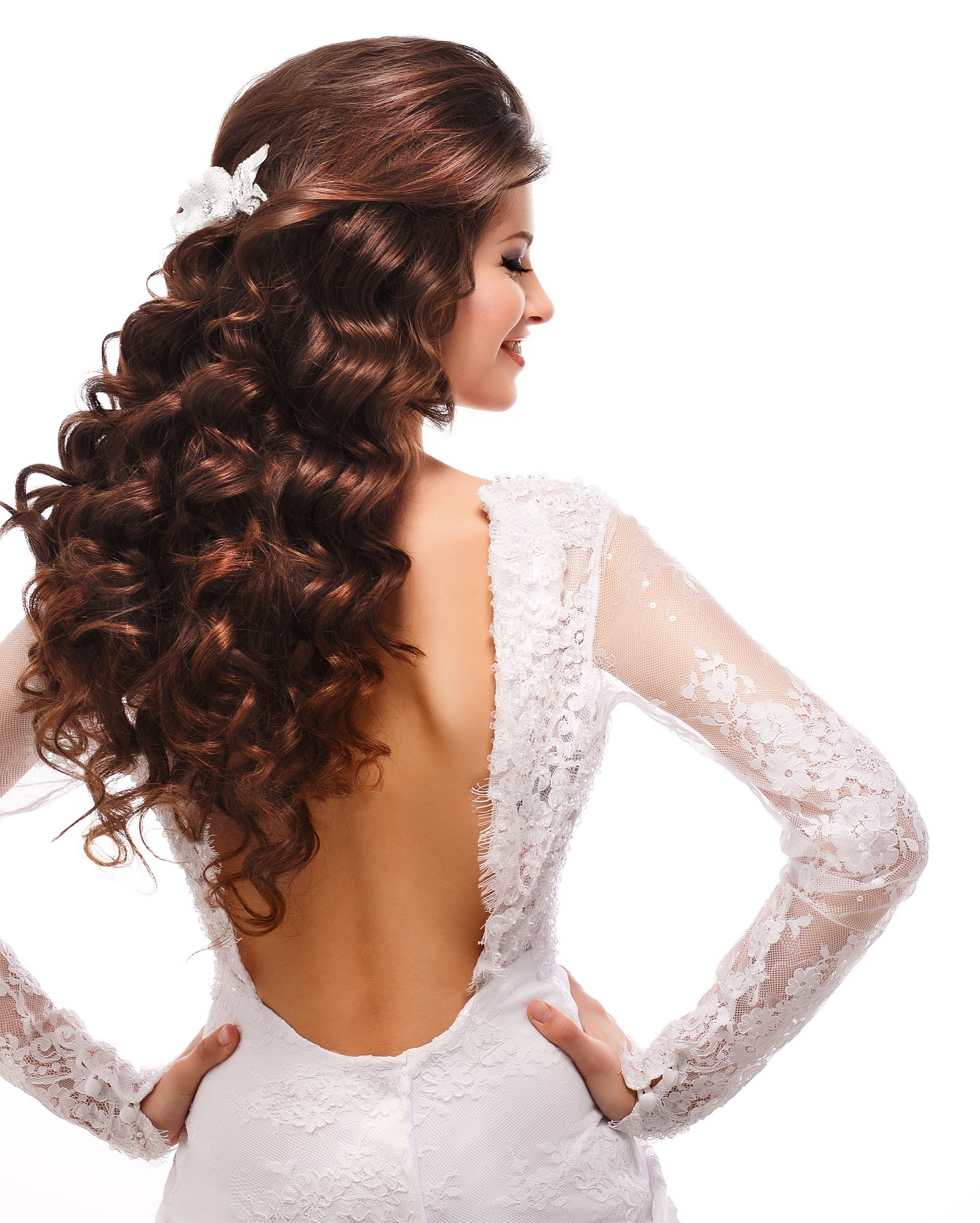 Curly wedding hairstyles half updo