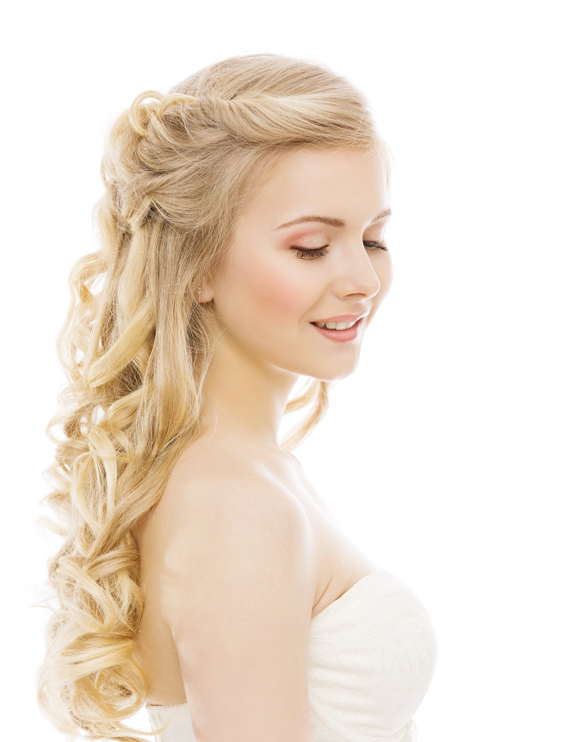 Curly wedding hairstyles floating twirl hairdo