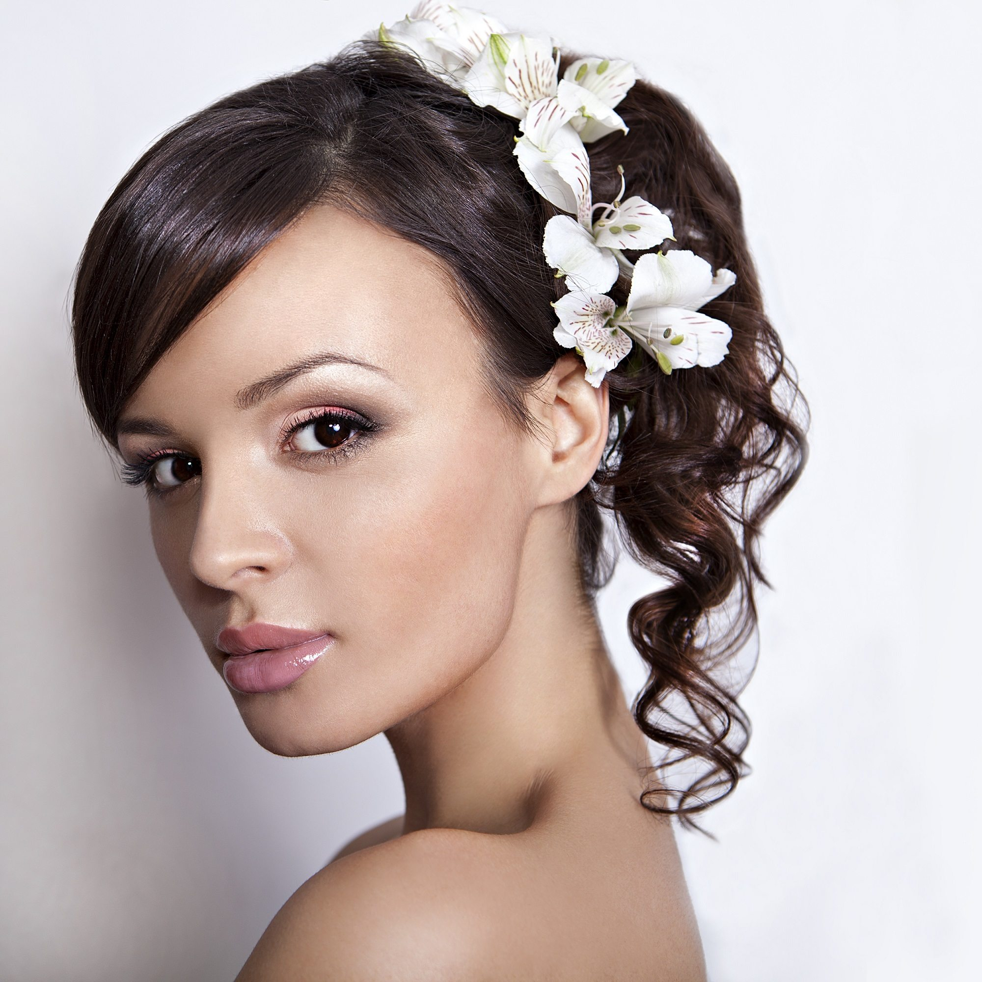 Curly wedding hairstyles high ponytail