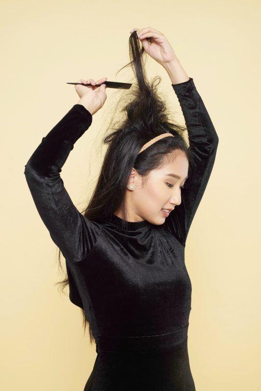 How to create bouffant hair step 4: Tease hair
