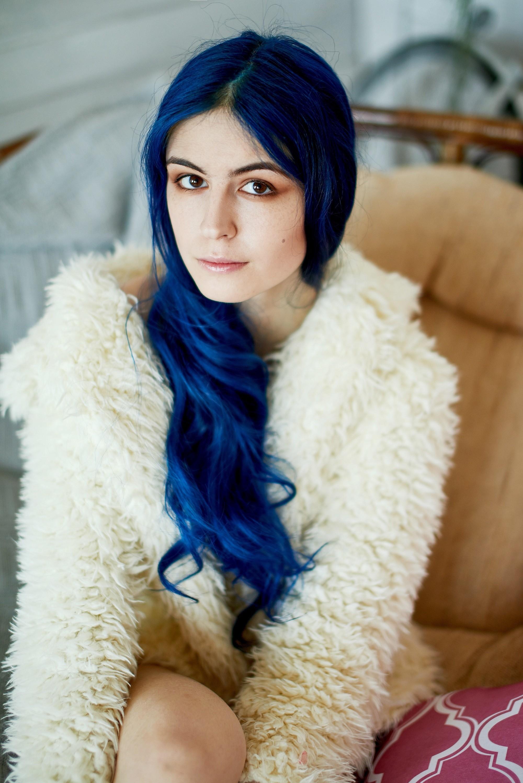 Highlight ideas for black hair: Blue hair