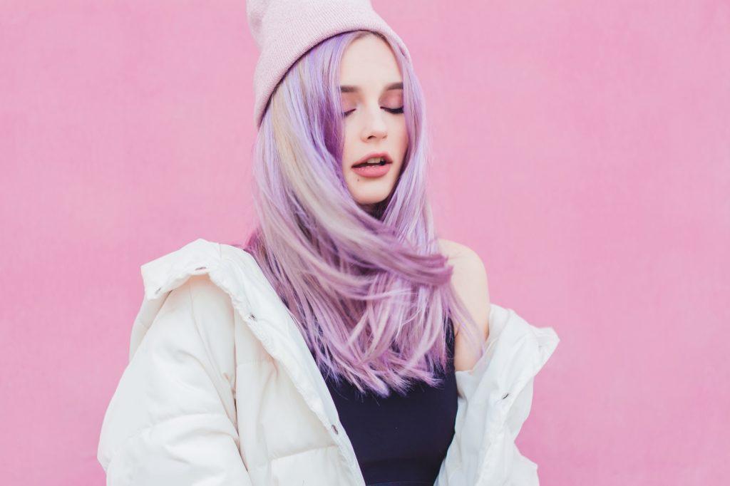 Purple hair ideas: Woman with long, straight lilac hair
