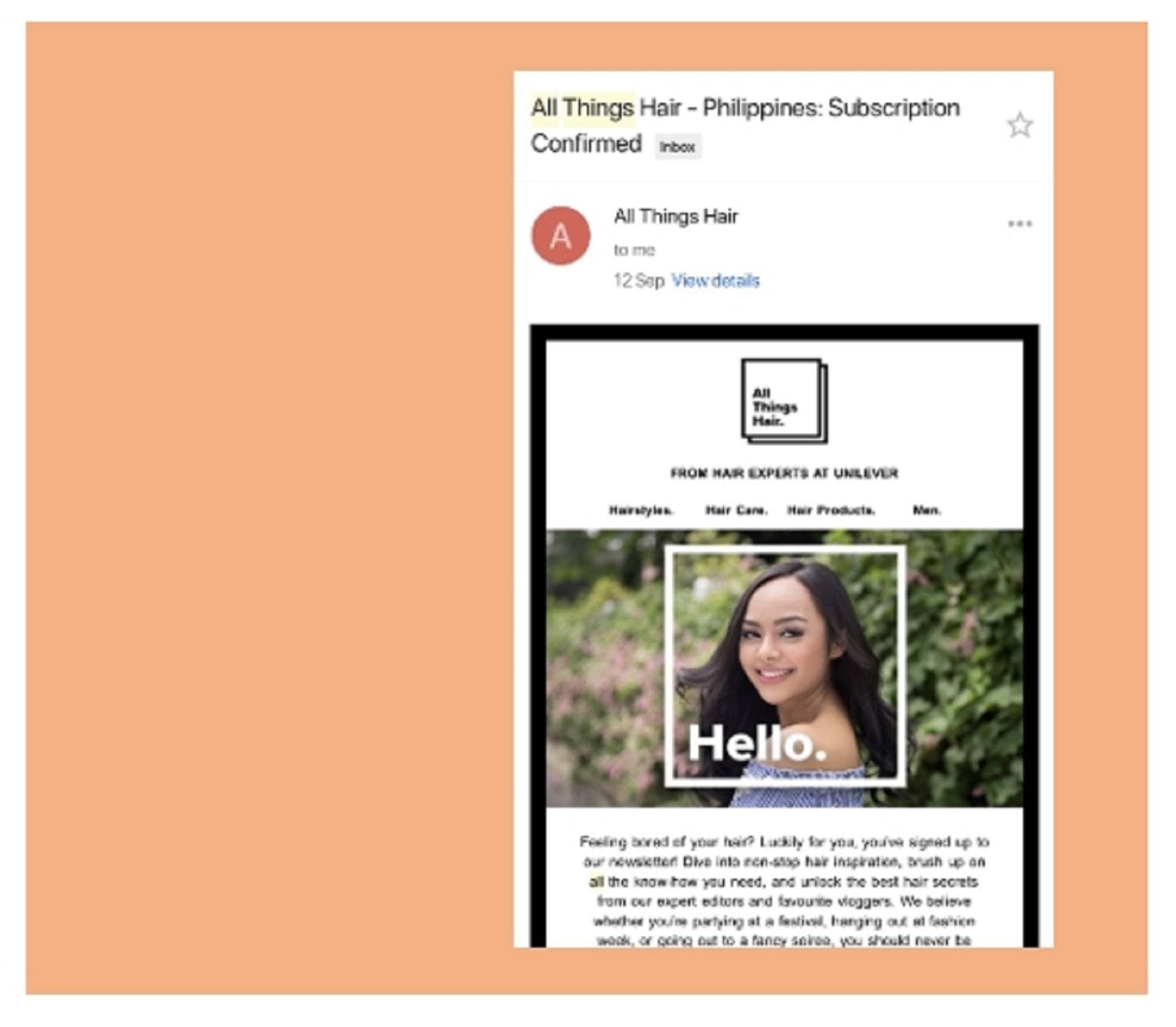 All things hair live x Jay Wee: screenshot of email subscription