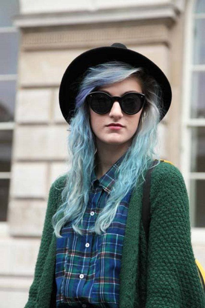 Blue hair: White woman with blonde and light blue hair