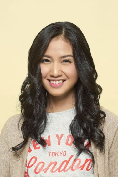 Curls for long hair: Asian woman with long black curly hair