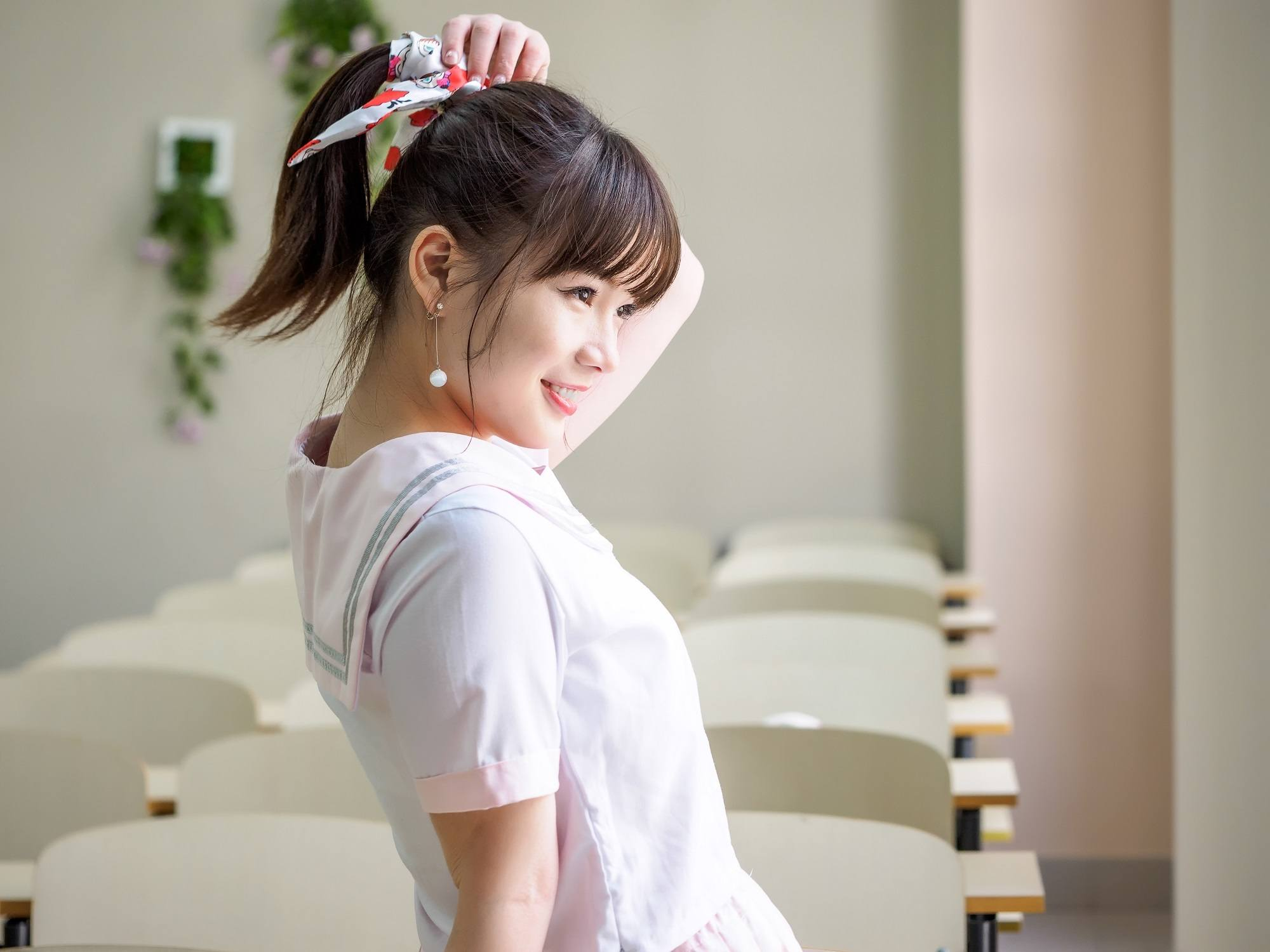 Ponytail with bangs: Asian girl with high ponytail and see-through bangs
