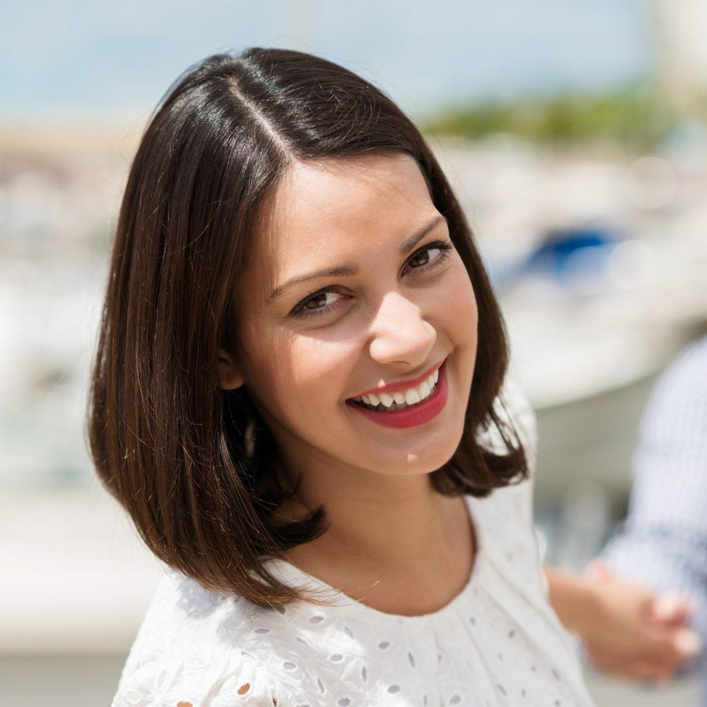 Woman with straight shoulder length bob