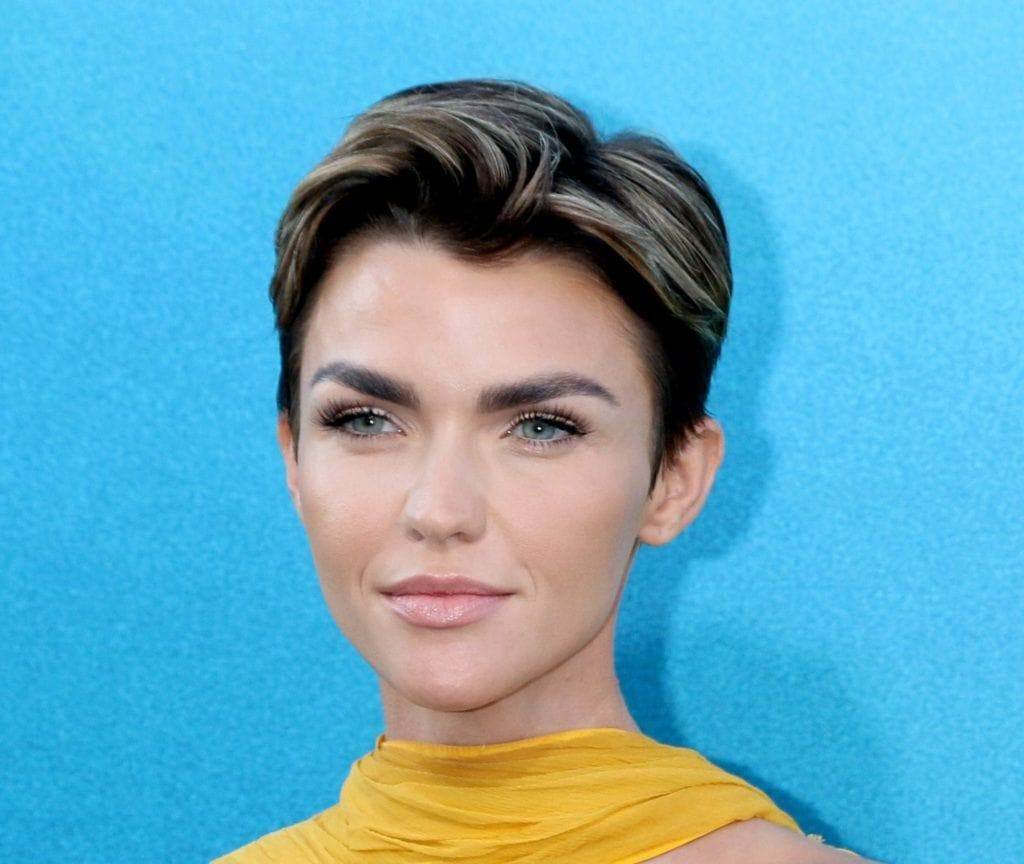 Celebrity hair: Actress Ruby Rose woman with black hair in pixie cut with blonde highlights standing against a blue background