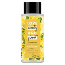 Bottle of Love Beauty and Planet yellow shampoo