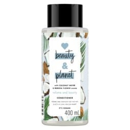 Bottle of Love Beauty and Planet blue conditioner