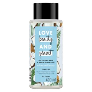 Bottle of Love Beauty and Planet blue shampoo