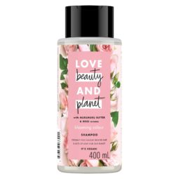 Bottle of Love Beauty and Planet pink shampoo