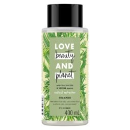 Bottle of Love Beauty and Planet green shampoo