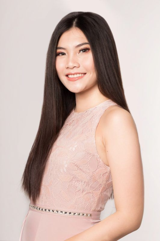 Lace braid updo: Asian woman with long black hair smiling
